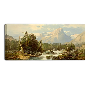 Designart Rolling Creek and Mountains Canvas Art Print, (PT4008-32-16)