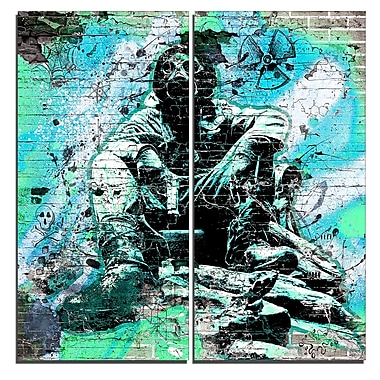 Designart Green Hazardous Behavior Street Art Canvas Artwork, (PT3633-1-40-40)