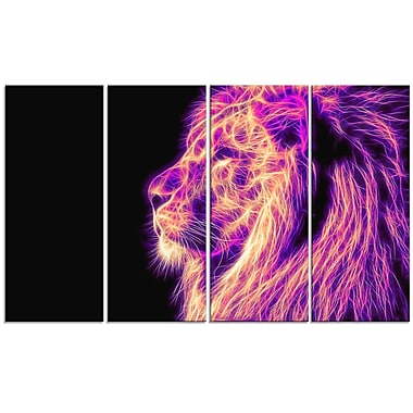 Designart On the Watch 4-Panel Purple Lion Canvas Art Print, (PT2464-271)