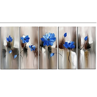Design Art Modern Flower Large, 5 Piece Gallery-wrapped Canvas, (PT1104-5P-BLUE)