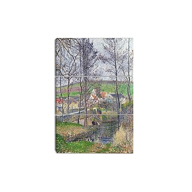 Designart Camille Pissarro, The Banks of the Viosne Canvas Art Print, 3 Panels, (PT4195-3P)