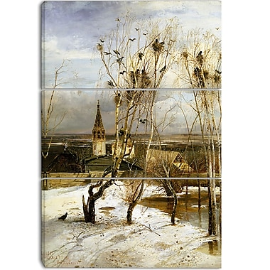 Designart Alexei Savrasov, Rooks Have Returned Canvas Art Print, 3 Panels, (PT4121-3P)