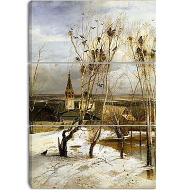 Designart – Les Freux sont de retour par Alexeï Savrassov, imprimée sur toile, 3 panneaux (PT4121-3P)
