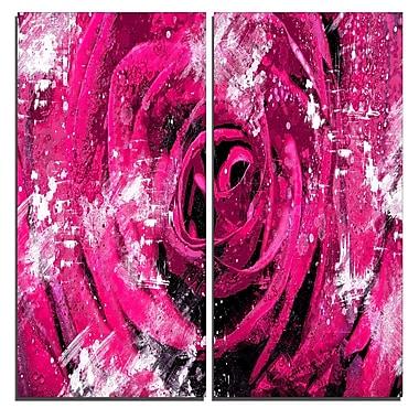 Designart – Art imprimé sur toile, centre d'une rose rose, 40 larg. x 40 haut.(po), 2 panneaux, (PT3427-2-40-40)