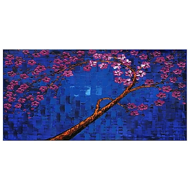 Design Art Abstract Deep Blue and Purple, 4 Piece Floral Canvas Print, (PT2002-32-16)
