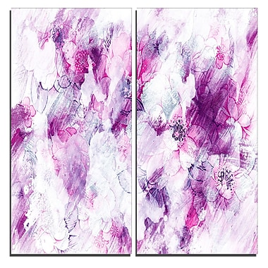 Designart Pink Abstract Flowers Canvas Art Print, 40