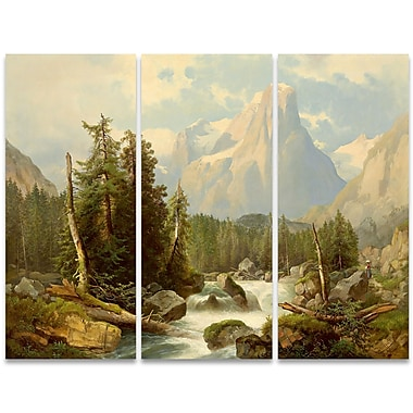 Designart Rolling Creek and Mountains 3-Panel Canvas Art Print, (PT4008-36-28)