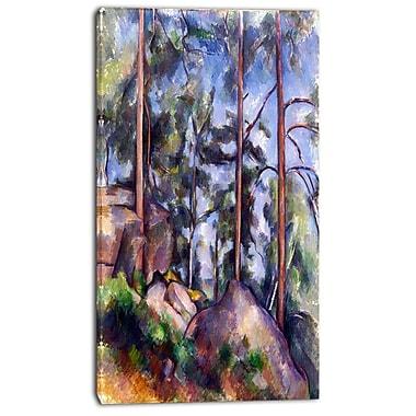 Designart – Paul Cezanne, Pins et rochers, imprimé sur toile, 3 panneaux (PT4768-20-40)