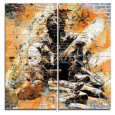 Designart Red Hazardous Behavior Street Art Canvas Artwork, (PT3633-2-40-40)