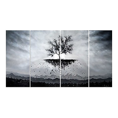 Designart Roots Run Deep Black and White Tree Painting, 4 Piece, (OL1165)
