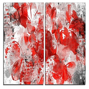 Designart Orange Red Flower Petals Canvas Art Print, 40