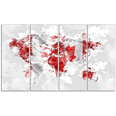 Designart Canadian Flag 4-Panel Grey Map Canvas Art Print, (PT2742-271)