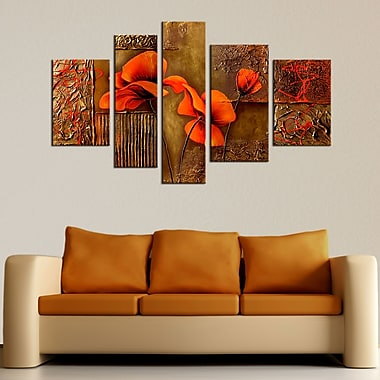 Designart Orange Floral Textured Abstract Hand Painted Canvas Art, 5 Piece, (OL141)