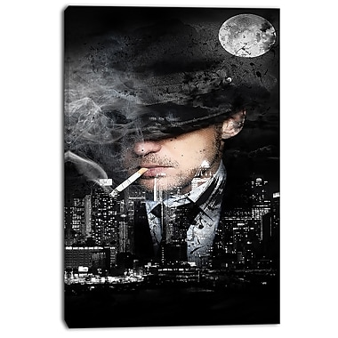 Designart Moonlight Smoke Street Art Canvas Artwork, (PT3610-24-40)