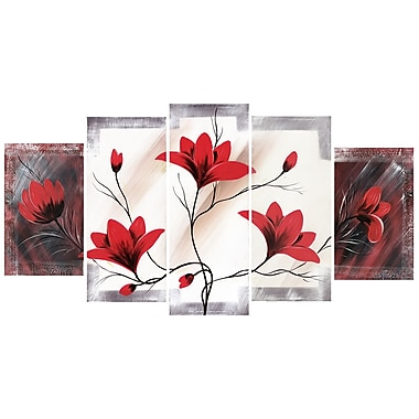 Designart Red Flower Canvas Art Print, 5 Panels, (PT310-373)