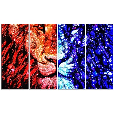 Designart King of the Jungle 4-Panel Canvas Art Print, (PT2401-271)