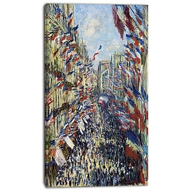 Designart Claude Monet, Rue Montorgueil Canvas Art Print, 3 Panels, (PT4252-16-32)
