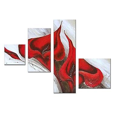 Designart – Fleur rouge, peinture à l'huile sur toile Art Set, 4 panneaux (OL302)