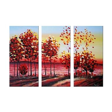 Designart Autumn Roads Oil Painting, 3 Piece, (OL1166)