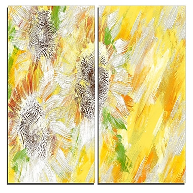 Designart Yellow and Green Flower Art Canvas Art Print, 40