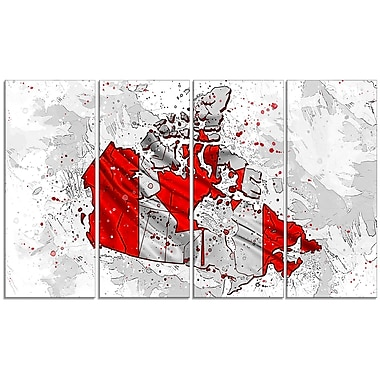 Designart Canadian Flag Bold Red 4-Panel Map Canvas Art Print, (PT2744-271)