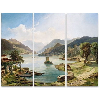 Designart Tranquil Villas Around the Lake 3-Panel Canvas Art Print, (PT4001-36-28)