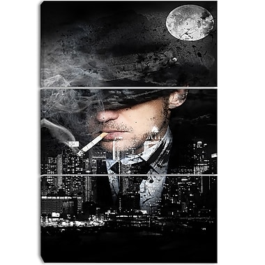 Designart Moonlight Smoke Street Art Canvas Artwork, (PT3610-3P)