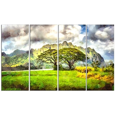 Designart Surreal Colourful Landscape 4-Panel Canvas Art Print, (PT3357-271)