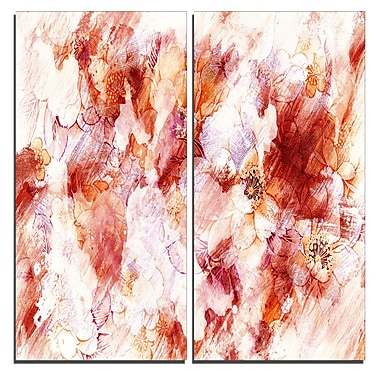 Designart Orange Abstract Flowers Canvas Art Print, 40