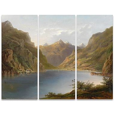Designart Calm Waters 3-Panel Nature Scene Canvas Art Print, (PT4009-36-28)