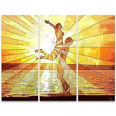 Designart – Art sensuel imprimé sur toile, rayons de lumière, 3 panneaux (PT2914-36-28)