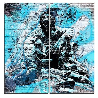 Designart Blue Hazardous Behavior Street Art Canvas Artwork, (PT3633-4-40-40)