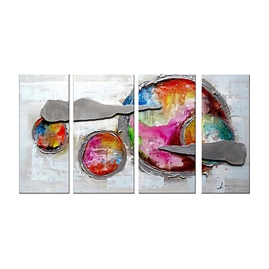 Designart Highly Textured Abstract Planets, 4 Piece Painting, (OL1169)