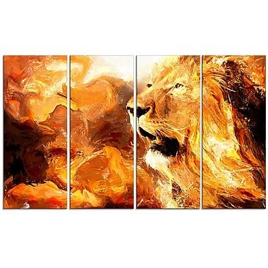Designart – Lion rugissant dans la nature, impression sur toile, 4 panneaux