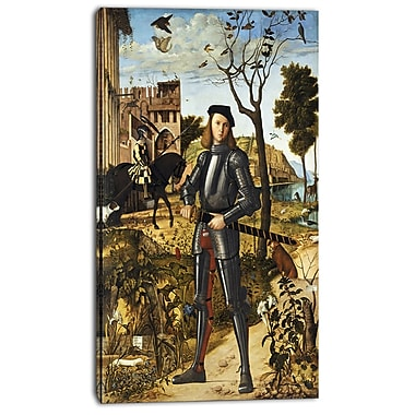 Designart Vittore Carpaccio, Young Knight in a Landscape Canvas Art Print, 3 Panels, (PT4990-20-40)