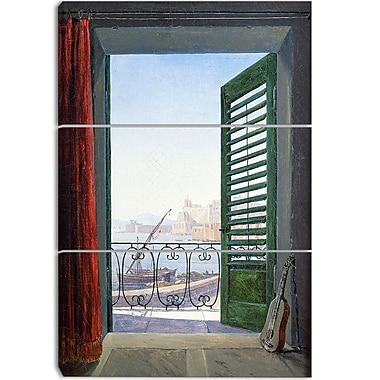 Designart Carl Schuch, Balkon in Neapel Canvas Art Print, 3 Panels, (PT4208-3P)