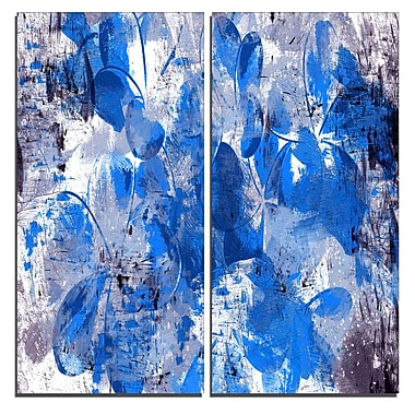 Designart – Impression sur toile, pétales bleus, 40 larg. x 40 haut. (po), 2 panneaux (PT3406-3-40-40)