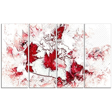 Designart O Canada 4-Panel Map Canvas Art Print, (PT2745-271)