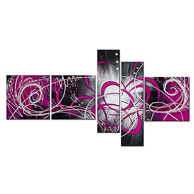 Designart Luminosity, 5 Piece Pink Abstract Painting, (OL1006)