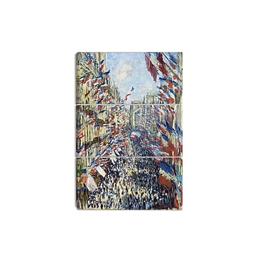Designart Claude Monet, Rue Montorgueil Canvas Art Print, 3 Panels, (PT4252-3P)