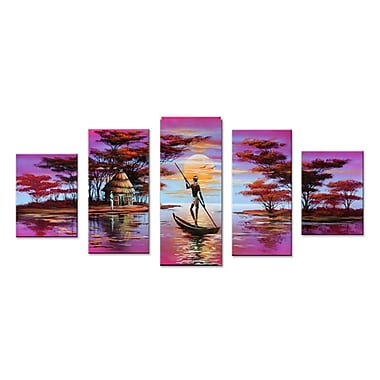 Designart African Boat Landscape Hand-Painted Oil on Canvas, 5 Piece Painting, (OL496)