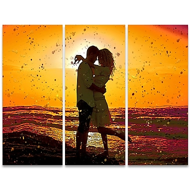 Designart – Art sensuel imprimé sur toile, tête à tête, 3 panneaux (PT2915-36-28)