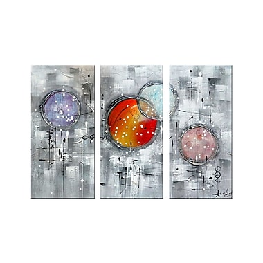 Designart Burst Your Bubble 3 Piece Hand-Painted Textured Oil on Canvas Art-Textured Oil Painting, (OL1170)