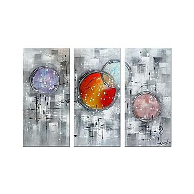Designart – Peinture à l'huile texturée sur toile faite à la main, Burst Your Bubble, 3 panneaux (OL1170)