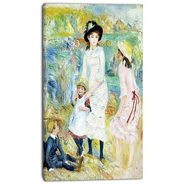 Designart Pierre-Auguste Renoir, Children on the Seashore Canvas Art Print, 3 Panels, (PT4850-16-32)