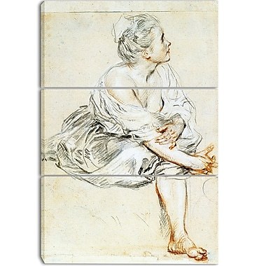 Designart Antoine Watteau, Seated Young Woman Canvas Art Print, (PT4143-3P)