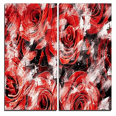 Designart Red Rose Garden Canvas Art Print, 40
