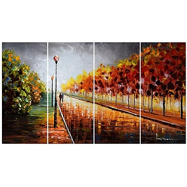Designart Landscape Trees Stormy Autumn 4-Panel Canvas Art Print, (PT3506-48x28)