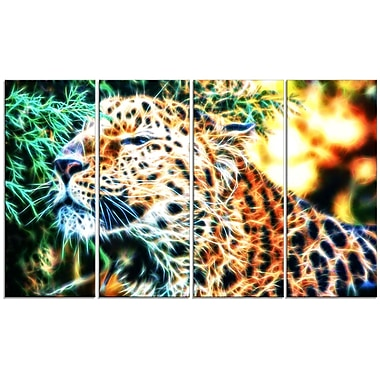 Designart Beautiful Cheetah 4-Panel Lion Canvas Art Print, 48
