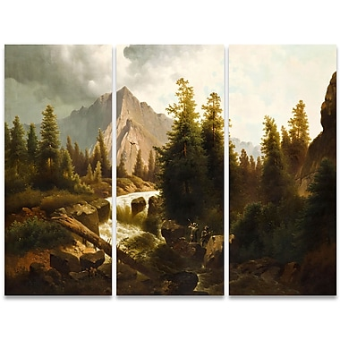 Designart Hunting in the Storm Canvas Art Print, 3 Panels, (PT4010-36-28)
